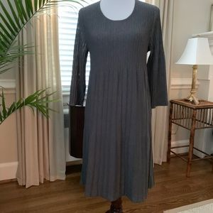 Eileen Fisher Dk Gray Pleated Dress Washable Wool